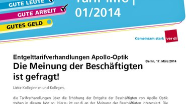Tarif-Info 1/2014 Apollo Optik | Fragebogen | ver.di Fachgruppe Industrie
